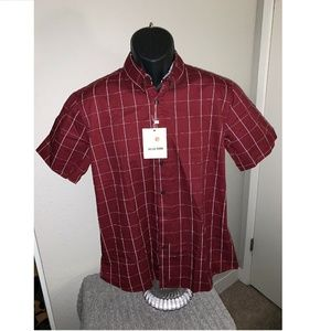 MUSE FATH Mens Casual Shirt Sleeve Red Button Down